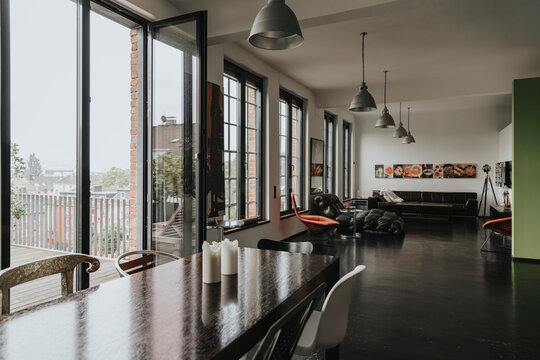 View from dining area to living area in a designer loft