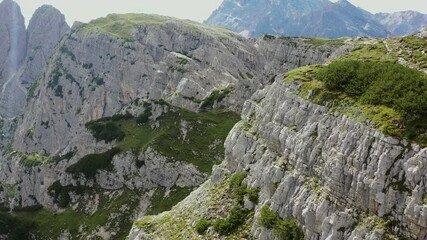 Wall Mural - Scenic Italian Alps Geology. Italian Dolomites From Aerial View.