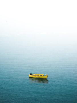 View of boat moored in Arctic Ocean