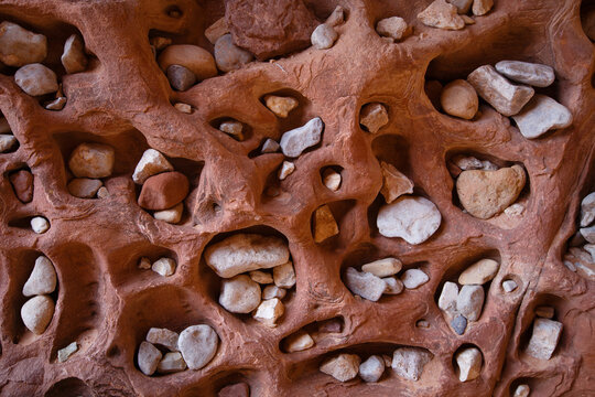 Close up of stones and pebbles in rock