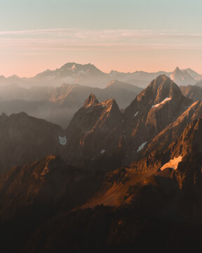 Sunrise over mountain peaks in North Cascades National Park