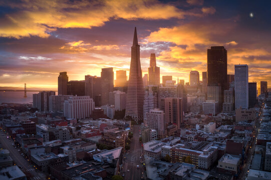 Aerial view of San Francisco cityscape during sunrise
