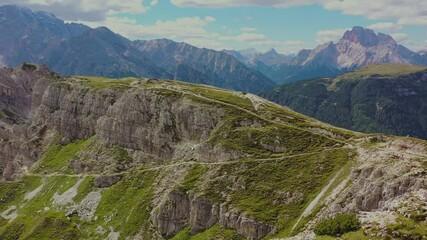 Wall Mural - Alpine Landscape. Italian Dolomites Mountain Range in Summer. Aerial Vista
