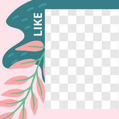Wall Mural - Floral post. Garden flora like social media post template. Template post for social media with floral elements. Vector illustration