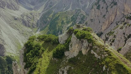 Wall Mural - Extreme Narrow Trailhead in the Italian Dolomites and the Walking Caucasian Hiker