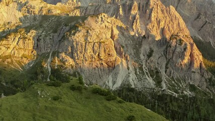 Wall Mural - Scenic Alpine Sunset in the Misurina Region of Italian Alps. Aerial Footage.