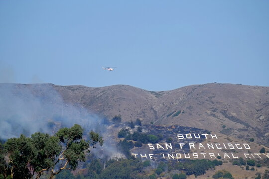 A brush fire burns on San Bruno Mountain in South San Francisco