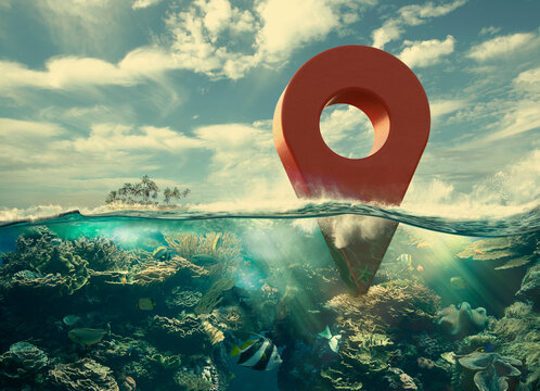 Red map pin icon partially submerged in ocean