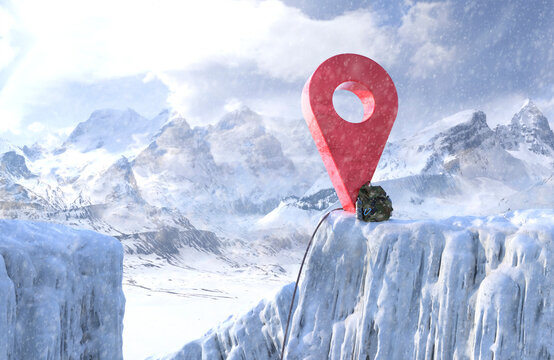 Red map pin icon in snowy mountains and ice