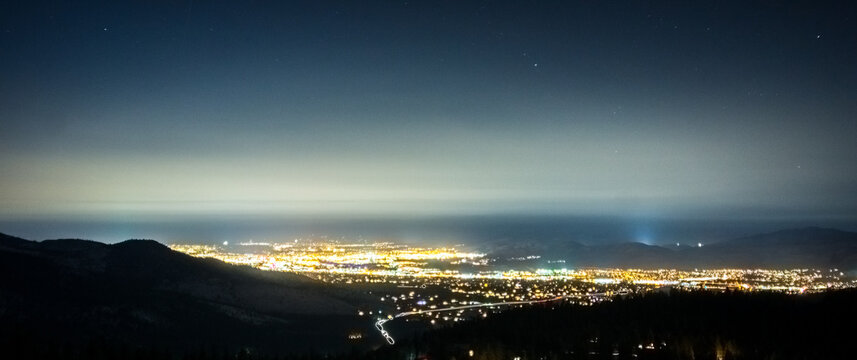 night view of carson city nevada from tahoe mountains