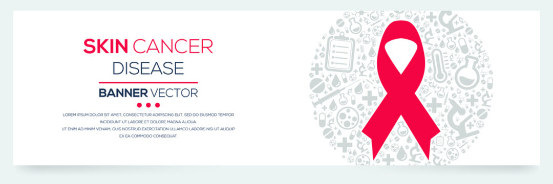 Creative (Skin Cancer) disease Banner Word with Icons ,Vector illustration.