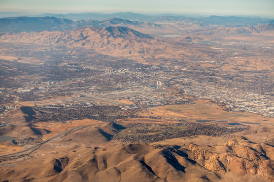 aerial view from airplane over reno nevada