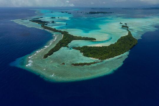 Tropical islands of Ngemelis in Palau, Aerial shot