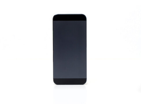 Black cellphone mock-up on white background