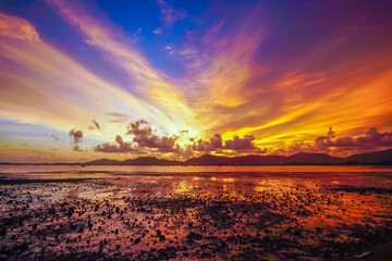 Landscapes views of sunset over river and mountain beautiful sky colorful background. At Khao khard, Phuket, Thailand.