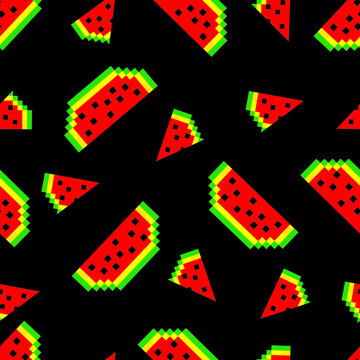 Seamless pattern with watermelons in pixel style. The design is suitable for wallpaper, decor, textiles, factories, kitchen and kids room, t-shirt and clothing printing. Isolated vector