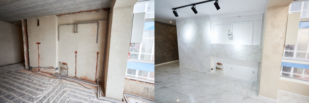 Empty flat with marble floor before and after refurbishment. Comparison of old room with underfloor heating pipes and new renovated place with stylish design in white tones. Concept of home renovation
