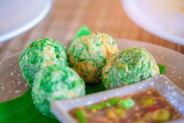 Obraz Fried Egg with Climbing Wattle and Spicy Shrimp Paste (Nam Prik Ka Pi). Asian food style. - fototapety do salonu