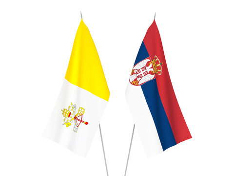 Serbia and Vatican flags