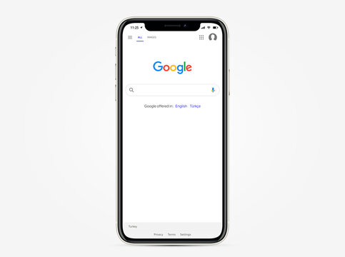 TURKEY, ANTALYA - OCTOBER 17, 2020: Apple inc. iphone with open Google search system. Main search page Google browser. Vector illustration EPS10