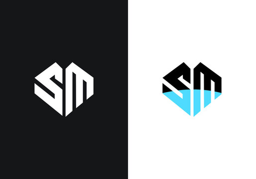 Initial Monogram Letter S M Logo Design Vector Template