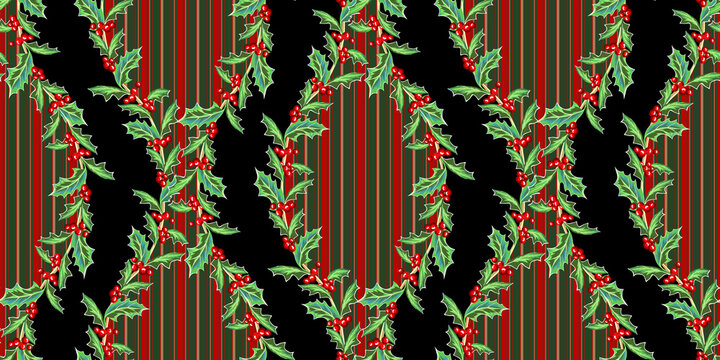Holly Branches Seamless Garland