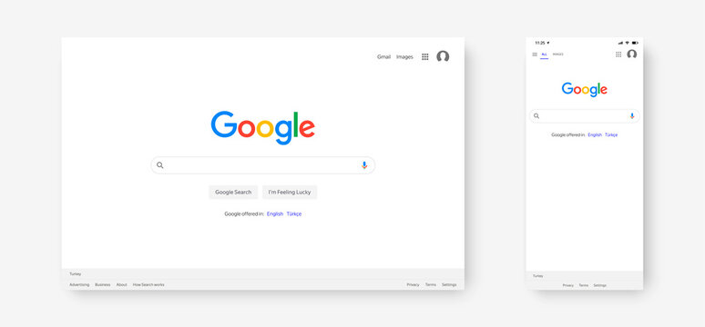 TURKEY, ANTALYA - OCTOBER 17, 2020:  The main page of the Google search engine on the screen of a computer and a smartphone. Vector illustration EPS10