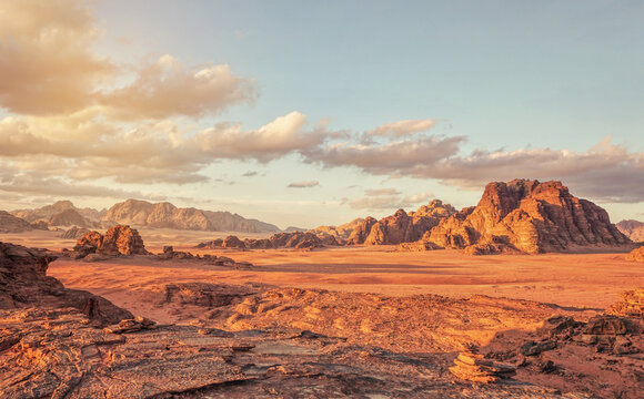 Red Mars like landscape in Wadi Rum desert, Jordan, this location was used as set for many science fiction movies