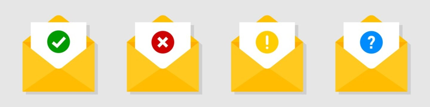 Confirmed sign in email. Envelope vector collection with approved rejected and warning message.