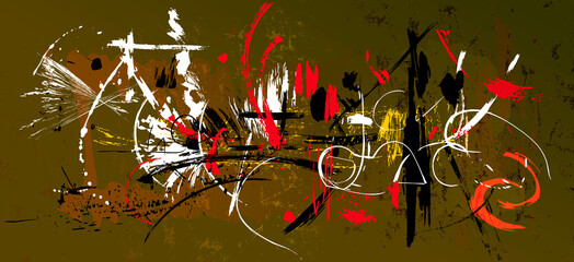 abstract pattern, art inspired, with grunge structure, strokes, splashes and lines
