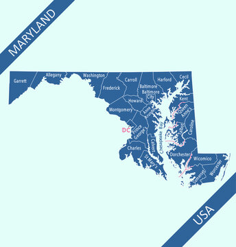 County map of Maryland labeled