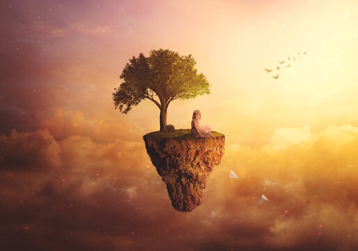 Composite fantasy/surreal background - Little girl sitting on floating island, throwing paper airplanes