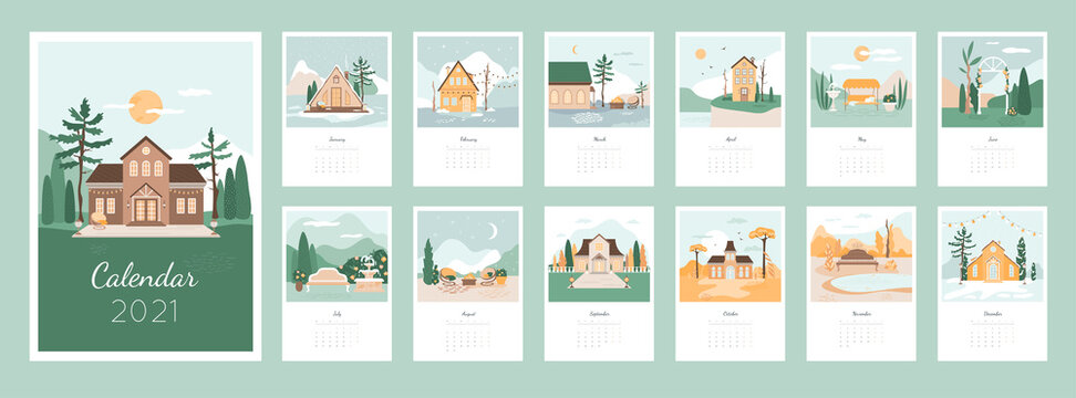 Calendar 2021 design concept with cozy houses and landscapes. Picturesque scenery,  garden, courtyard bundle. Set of 12 months vector illustrations. Cartoon flat beautiful nature, autumn forest.