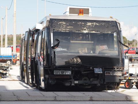 wrecked bus at the junkyard