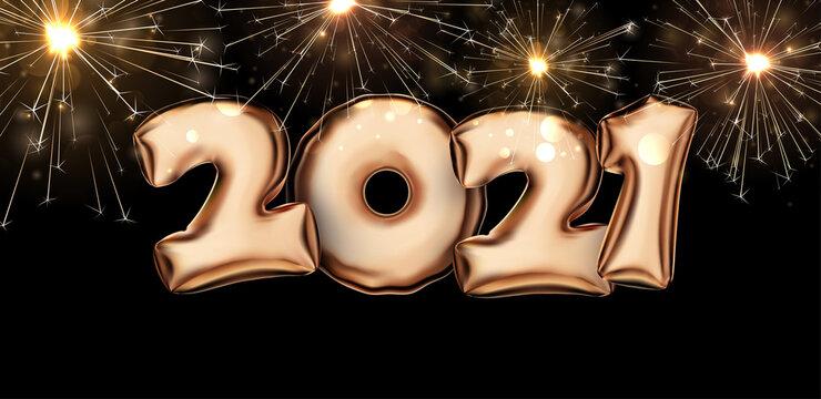 Golden foil balloon 2021 sign on black background.
