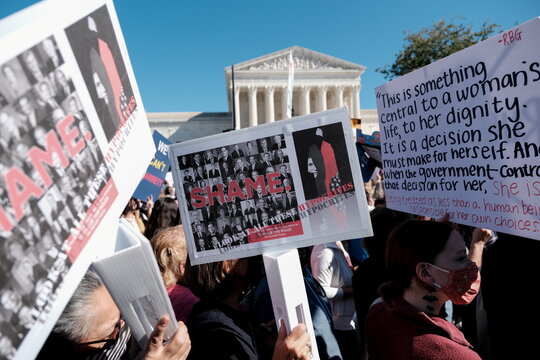Women's March activists participate in a nationwide protest against U.S. President Donald Trump's decision to fill the seat on the Supreme Court