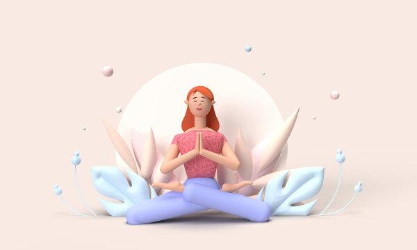Illustration 3D d'une jeune femme faisant du yoga. posture zen. posture méditation. Ambiance zen. bien être