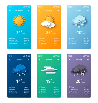 Weather forecast app widgets set. Vector illustration. Daily application template with paper cut climate icons. Thunderstorm, rain, sunny day, fog and winter snow.