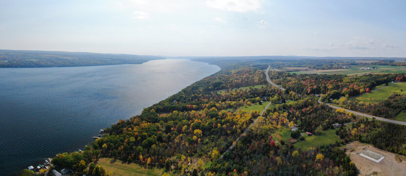 Drone Fall, Autumn Panoramic Aerial Shot of the Wineries Located Surrounding Seneca Lake Finger Lake in Upstate New York, Finger Lakes Region