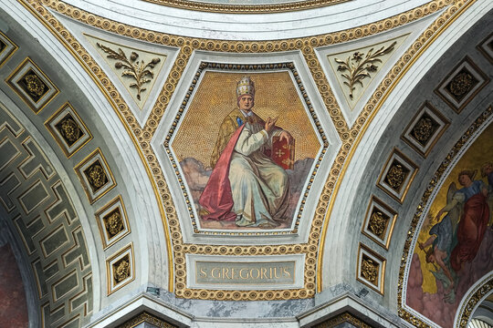 Esztergom, Hungary. Mosaic and fresco depicting Saint Gregory (Pope Gregory I), one of the Four Great Fathers of the Western Church, in Esztergom Basilica.