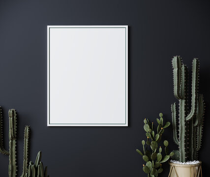 Mockup frame on dark gray wall mock up with cactus, vertical white poster frame on wall, mock up for picture or photo frame, empty frame on bright wall, 3d render