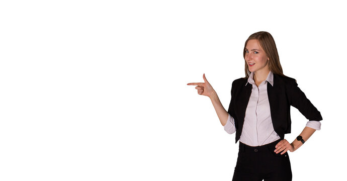 businesswoman smiling pointing at copy space with her finger isolated on white background. business bank offer, sale, insurance, investment, technology