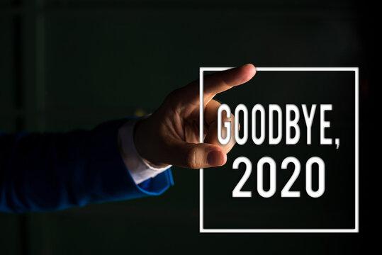 Text sign showing Goodbye 2020. Business photo text New Year Eve Milestone Last Month Celebration Transition digital arrowhead curve rising upward denoting growth development concept
