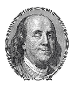 Benjamin Franklin blinking and smiling at you isolated on white