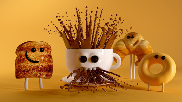 Breakfast Crew. 3d illustration. A donut, a toast a strong croissant and a chocolate cup