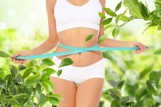 Young woman measuring her waist surrounded by green foliage, closeup. Tea leaves for slimming drink