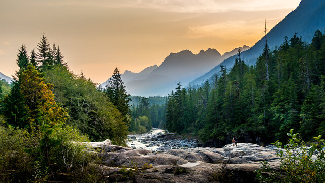 Sunset over the Kennedy River at the Pacific Rim National Park on the West Coast of Vancouver Island, British Columbia, Canada