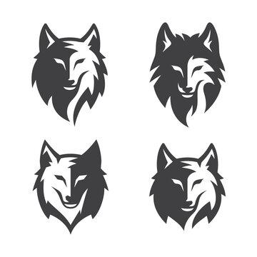 Simple Wolf Head line Art Vector Illustration