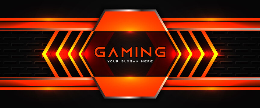 Futuristic orange and black abstract gaming banner design template with metal technology concept. Vector layout for business corporate promotion, game header social media, live streaming background