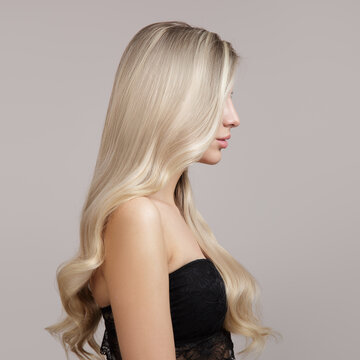 wavy blonde hair side view in profile. Copycpase
